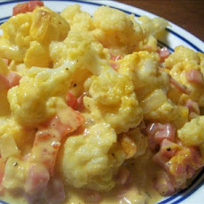 Cheesy Ham & Cauliflower Casserole