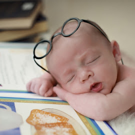 ~Eagar To Learn~ by Dan Peters - Babies & Children Babies ( sleeping baby, studying baby, maddux, maddux avery, newborn,  )