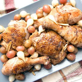 Roasted Chicken Thighs with Grapes and Pearl Onions