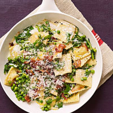 Pan-Seared Ravioli with Peas, Bacon and Mint