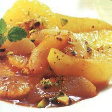 Flambéed Asian pears with orange