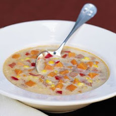 Corn Chowder with Sweet Potatoes and Ham