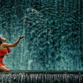 Water Splash #2 by Hendy Kayana - People Portraits of Women ( playing, woman, art, waterfall, public )