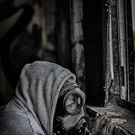 Waiting For No One by Darren Darkhaunter - Novices Only Portraits & People ( gasmask, building, urban style, beautiful, abandoned )