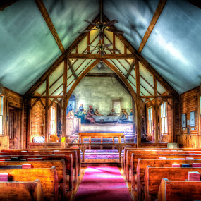 The Last Supper at Holy Trinity Episcopal Church by RomanDA Photography - Buildings & Architecture Places of Worship ( fresco, church, beams )