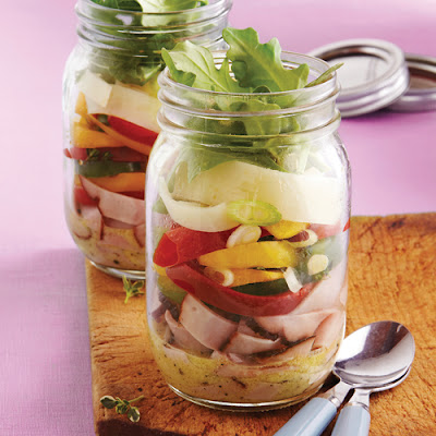 Ham, Cheese & Sweet Pepper Salad Jar