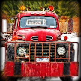 Junkyard Tow Truck by Stan Lupo - Digital Art Things ( winter, red, hdr, tow truck, snow, digital art, junkyard,  )