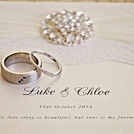 Luke & Chloe by Alan Evans - Wedding Details ( wagga wagga wedding photographer, lace, wedding photography, pearls, wedding day, wedding, wedding invitation, aj photography, bride and groom, wedding rings, pearls and lace )
