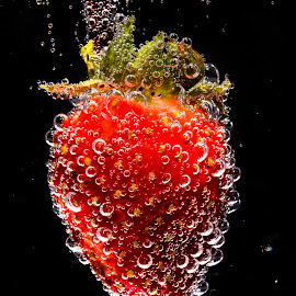 Strawberry Drop by Don Alexander Lumsden - Food & Drink Fruits & Vegetables ( Food & Beverage, meal, Eat & Drink )