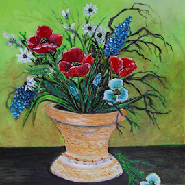 The Lime Green wall by Rhonda Lee - Painting All Painting ( bouquet, art, traditional, still, poppy, lime, oil, life, red, contemporary, original, rokinronda, original modern, painting, wall, floral )