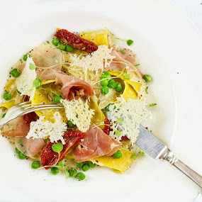 Pasta with Parma Ham in a Creamy Pecorino Sauce by Michael Price - Food & Drink Plated Food ( light lunch menu, gourmet dining, pecorino cheese sauce, parma ham, pasta, fine dining )