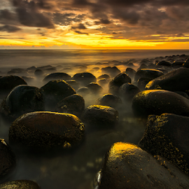 Misty Stones by Ade Noverzan - Landscapes Beaches ( sunset, beach, stones, misty )