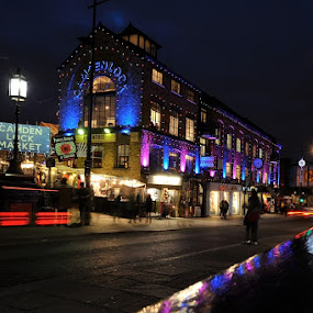 Camden lock market by Fabio Ponzi - City,  Street & Park  Night ( red, london, blue, night, light )