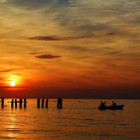 Kepi i Rodonit by Olsi Belishta - Landscapes Sunsets & Sunrises ( fishermen, sunset, albania, boat, kepi i rodonit )