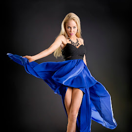 Flow by Michael Mango - People Portraits of Women ( blonde, model, blue, woman, legs, portrait )