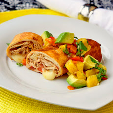 Pork Chimichangas with Avocado Pineapple Salsa