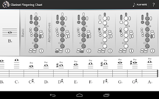 Screenshot of Clarinet Fingering Chart