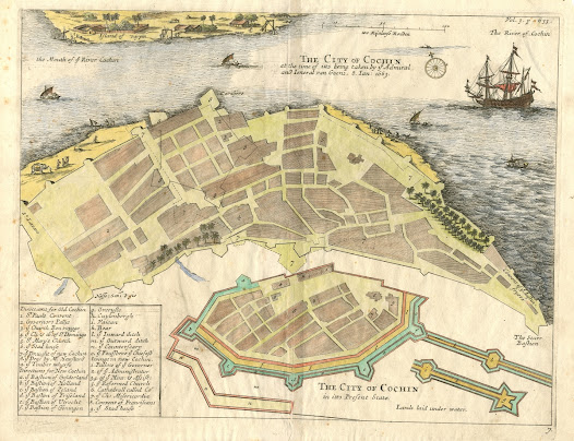 Phillip Baldaeus <b>Kochi, Kerala</b>  1672 / 1744. Copper engraving, 34.9 x 41.4 cm.  A pair of detailed plans of Cochin, depicting the city before and after it was conquered by the Dutch, ending 160 years of Portuguese rule.  The fascinating map sheet features two different plans of Cochin (Kochi).  The larger plan depicts the city as it appeared at the end of the period of Portuguese hegemony.  The smaller plan (below) was used by the minister and ethnographer Phillip Baldaeus to depict the Dutch plans for altering the city following their seizure of Cochin in 1663.