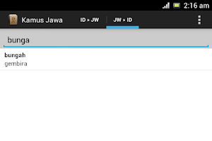 Screenshot of Javanese Dictionary