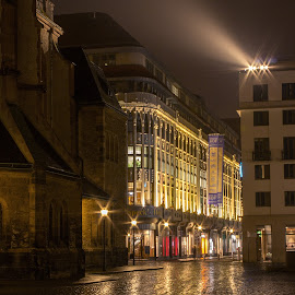 Speck's Hof by Jessica Horn - Buildings & Architecture Other Exteriors ( fog, street, leipzig, reflections, germany, night, scruffybread, architecture, rain, specks hof, street photography )