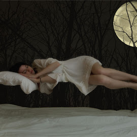 We'll Wait Til Morning to Wake You by Jessica Throwe - Digital Art People ( moon, levitation, night, sleeping, sleep )