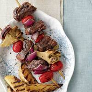 Beef Kebabs with Roasted Green Beans and Almonds