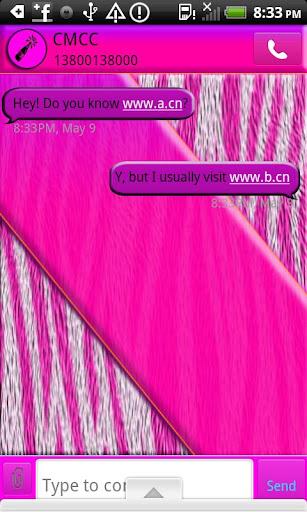 GO SMS THEME TippsyPinkZebra