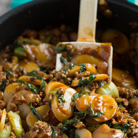Korean Rice Cakes with Spicy Turkey Ragu and Bok Choy