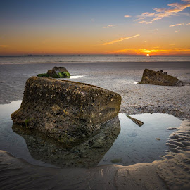 3 Block Sunrise by Noel Benadom - Landscapes Sunsets & Sunrises ( sanibel, sunrise, blocks )