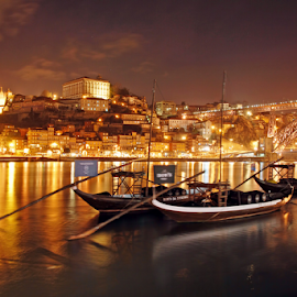 Porto City by Antonio Amen - Transportation Boats ( river douro, night, rabelos, portugal, porto )