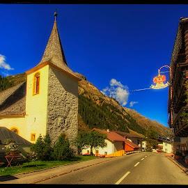 in the village by Petr Klingr - Landscapes Travel ( village, church, hdr, sun, alps )