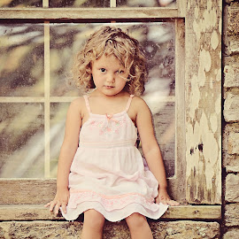 Joselyn by Ali Reagan - Babies & Children Child Portraits ( child, reflection, girl, window, sadness, vintage, thought, summer,  )