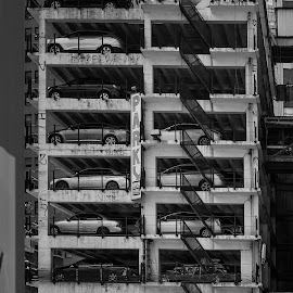Parking by Viktor Miloslavsky - Buildings & Architecture Other Exteriors ( parking, old, structure, black and white, garage, new york, architecture )
