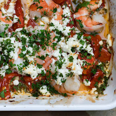 Roasted Tomatoes with Shrimp and Feta