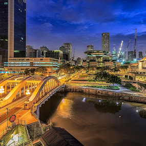 Boat Quay by CK Lam - City,  Street & Park  Skylines ( parliament house, boat quay, blue hour, light trails, long exposure, singapore, north bridge road, supreme court, singapore river )