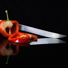 Master Chef by Daryl Visser - Food & Drink Fruits & Vegetables ( red, food, art, table top, knife )