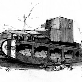 Whippet Tank by Oliver Cook - Drawing All Drawing ( charcoal, ww1, vintage, armoured, vehicle, armor, armored, war, ink, military, pen, army, armour, world war 1, great war, tank )