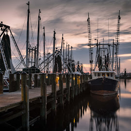 Sunrise at the Dock by Ron Maxie - Transportation Boats
