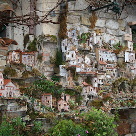 miniature houses by Ian Turnell - Buildings & Architecture Homes ( models, miniature village on house wall, houses, village )