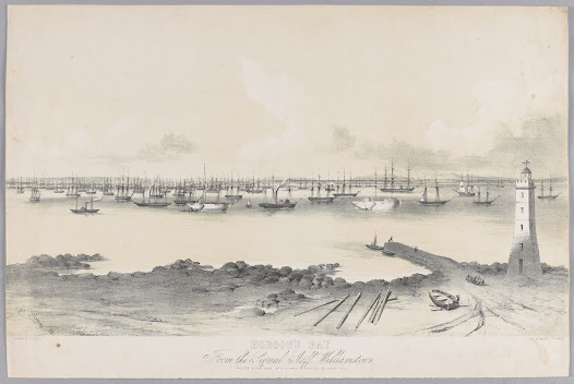 During one week in March 1853 a staggering 138 vessels anchored in Hobson's Bay.