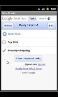 Screenshot of Gmail Tasks