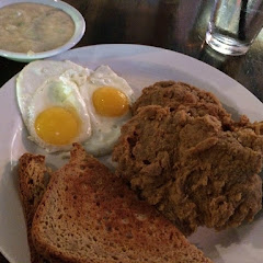 GF Chicken Fried Steak, Eggs, Bread and Honey Jalapeño Gravy. I asked for it on the side because I w