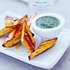 Spiced Roast Parsnip Chunks with Coriander Chutney