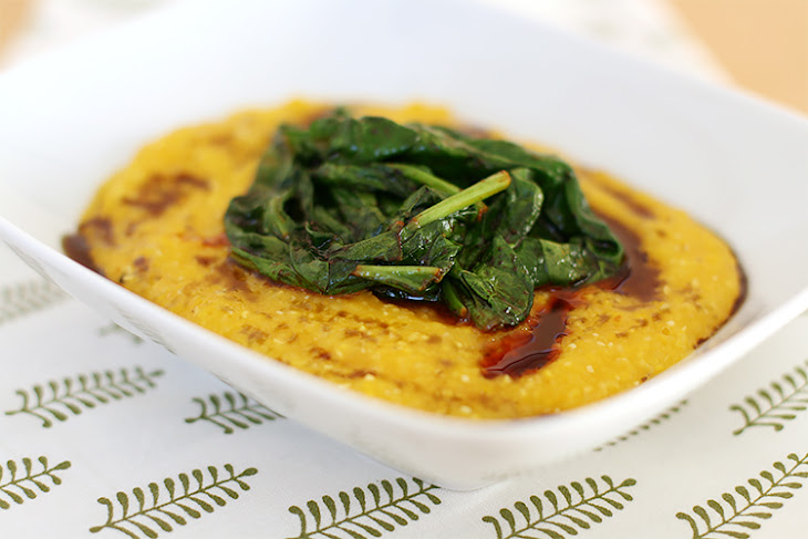 Creamy Butternut Squash Polenta With Spicy Wilted Spinach Recipe ...