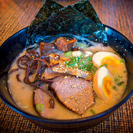 Lunch at  Ramen Yamadaya San Francisco  by Bill (THECREOS) Davis - Food & Drink Plated Food ( good food, ramen, noodles, boiled egg, yamadaya ramen, chashu, japanese, soup, close up, nori, food, japan town, san francisco, tonkotsu,  )