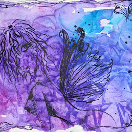 Pouty Princess by Vanessa Renee - Drawing All Drawing ( princess, purple, fairy, drawing, inkwash, ink )