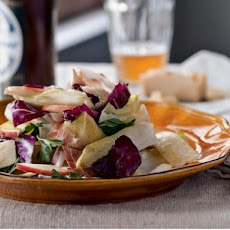 Endive, Apple, and Farmhouse Cheddar Salad with Country Ham and Wheat Beer Dressing
