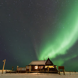 The Aurora Cabin. by Kjartan Guðmundur Júlíusson - Landscapes Travel ( iceland, sky, stars, snow, northern lights, aurora borealis, nightscape )