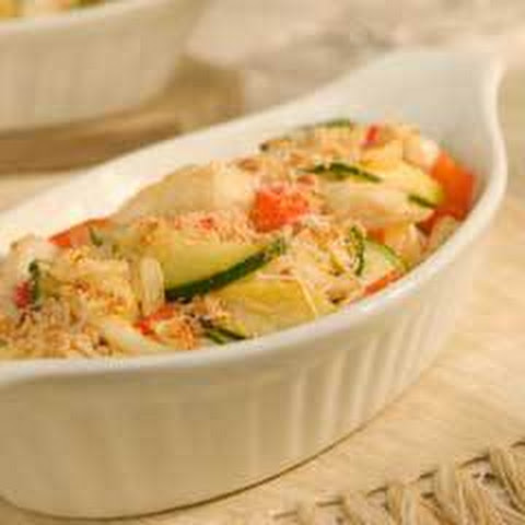 Vegetable Crab Cake Au Gratin