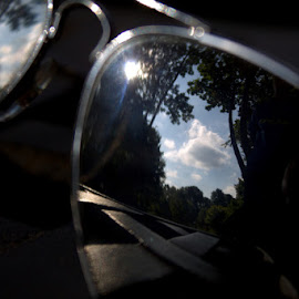 Look Into My Eyes by Dougetta Nuneviller - Artistic Objects Clothing & Accessories ( clouds, refections, sky, park, outdoors, sunglasses )